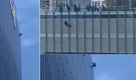 شاب يتدلى بحبل من برج ويهدّد بالانتحار.. ليلتقي بترامب! (فيديو)