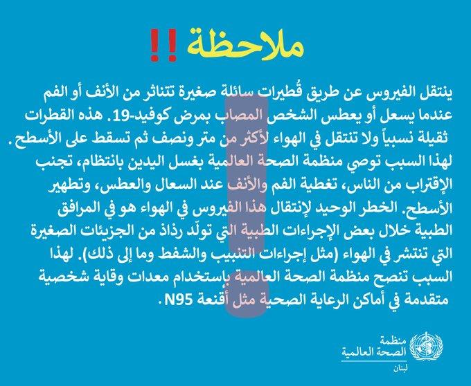 """بعد المخاوف من انتقال كورونا بالهواء.. """"الصحة العالمية"""" توضح المسألة للبنانيين"""